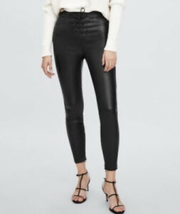 Zara Faux Leather Black Fitted Tight High Waist Lace Up Pants Size L 12 As New