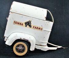 New ListingVtg 1960s Tonka Farms White Pressed Steel Metal Horse Trailer Heavy Built