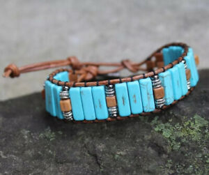 Men's Turquoise and Tiger Jasper Beaded Brown Leather Cuff Bracelet handmade USA