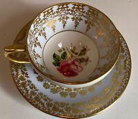 Vtg. 1950's Windsor  Bone China Tea Cup & Saucer Blue Rose Gold Filigree England