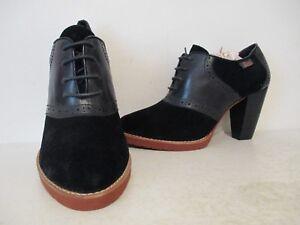 Bass Womens Glenbrook Leather Suede Saddle Shoe Heels Black/ Black Size 6 M