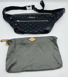 NWOT MZ Wallace Crosby Quilted Oxford Black Fanny Belt Bag With Cover