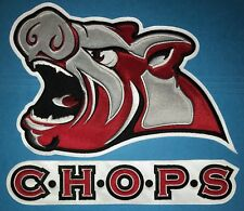 Rare 2 Piece Defunct Iowa Chops AHL Hockey Jersey Front Patch Crest D