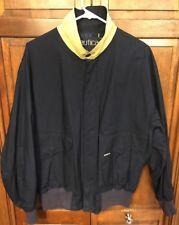 Nautica Cotton Jacket Coat WindBreaker Navy Blue Yellow Collar Men's M Vintage