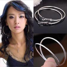 Fashion Women's Silver Plated Round Big Large Hoop Huggie Loop Earrings Jewelry