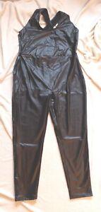 PU Leder Jumpsuit Overall mit Kreuzgurt schwarz 3XL 48-50