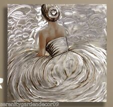 """32.5"""" Sitting Woman in a Gown Oil Painting on Stretched Canvas with Foil Accent"""