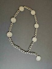 Vintage 60s Boho Retro Silver Tone Metal Chain Belt Adjustable to 36
