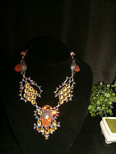 necklace amber color carved face some 925 Silver Cleopatra cluster bib adj.