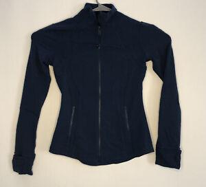 Lululemon Define Women Athletic Jacket Full Zip Size 6 Blue Night Tide Running