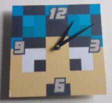 wooden Minecraft style Dan tdm Handmade Wall Clock Gift Kids Bedroom
