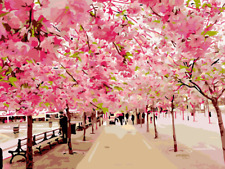 16x20 Wooden Framed Paint by Number  Diy Oil Painting kid pink tree road street
