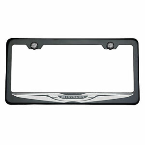 Black Chrome Chrysler Logo Laser Engraved 304 StainlessSteel License Plate Frame