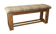 Wooden Upholstered Hallway/Dining Table Bench Upholstered in Tartan Fabric
