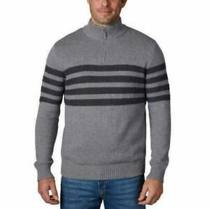 Mens Tahari Textured Melange Yarn 1/4 ZIP Pullover Sweater XXL  Grey Heather