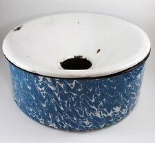 Antique Blue Swirl Granite Spittoon Graniteware