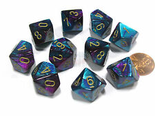 Set of 10 Chessex Gemini D10 Dice - Purple-Teal with Gold Numbers