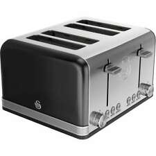 Swan ST19020BN Retro 4 Slice Toaster Black New from AO