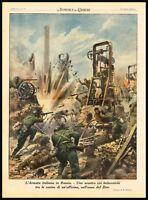 1942 Italian Army in Russia against the Bolsheviks, World War II Vintage Print