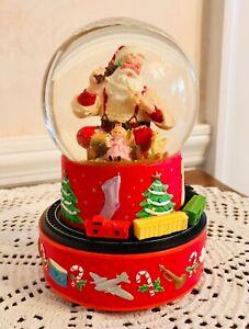 2001 Hallmark Coca-Cola Santa Snow Globe Musical Music Box Moving Train + Box