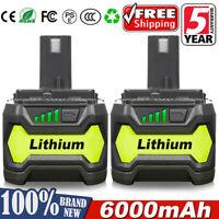 2Pack for Ryobi 18V 6.0Ah Lithium P108 Battery ONE+ P104 RB18L50 RB18L40 RB18L25