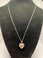 """925 Sterling Silver Hand Engraved Heart Locket Pendant Necklace 18"""""""