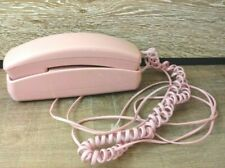 Vintage style retro push button corded pink wall phone Telestyle telephone