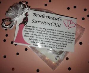 Will You Be My Bridesmaid Gift Survival Kit Keepsake Wedding Favour Novelty Bag