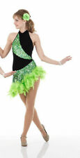 Child 6X7 Salsa Ballroom Dress Dance Costume GREEN Shine
