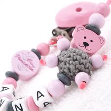 Schnullerkette mit Namen Teddybär Prinzessin Babygeschenk Mädchen grau rosa
