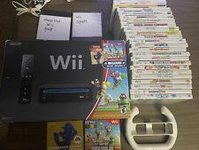 Nintendo Wii Video Game Black In Original Box With 26 Games Mario Kart Wii Sport
