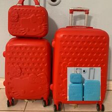 "***3 piece Hello Kitty luggage set spinner***     12"" 20"" 24"""