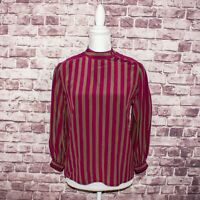 Vintage STEFANO RICCI Women's 100% Silk Blouse Mock Pink tan Striped Size 38