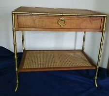 Vtg Miller Road Furniture (Baker) - Brass Frame Faux Bamboo Wick Table w Drawer