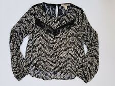 forever 21 black and white sheer long sleeve top size extra small