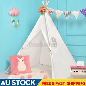 AU Large Teepee Tent Kids Cotton Canvas Pretend Play House Boy Girls Wigwam Gift