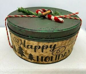 Christmas Primitive Early American Cinnamon Dusted Holiday Tin Pine Greens