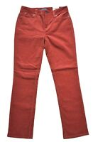 NWT Talbots Womens Pants 4P Heritage Brown Red Rust Corduroy Straight Slimming