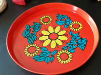 """Vintage 13"""" Round Metal Tray Kitchen Flowers MOD Retro MCM 60s Red Action Brazil"""