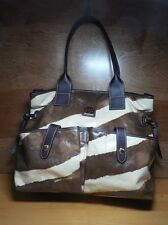 Dooney and Bourke Zebra Satchel Brown Cream