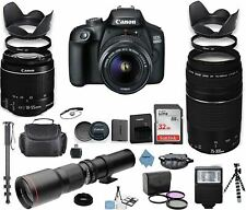 Canon EOS 4000D DSLR Camera with 18-55mm is II Lens Bundle + Canon EF 75-300mm f