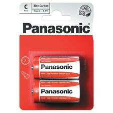 New 4x2 Pack of Panasonic C Battery Batteries Zinc Carbon R14 1.5V