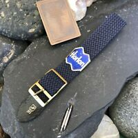 16mm Perlon 1960s/70s NOS Vintage Watch Band Blue NOS Dive Strap & Brass Buckle