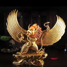 "11"" Tibet Buddhism copper gilt gold hand painting Garuda bird Buddha statue"