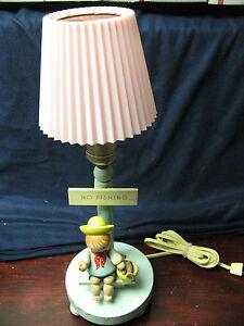 NURSERY LAMP NO FISHING  NURSERY PLASTICS  w/ WASHABLE PLASTIC SHADE VINT.ORIG.