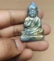 116 Cts Natural AAA+ Labrodorite Handmade Spiritual Lord Buddha Figure RA-11