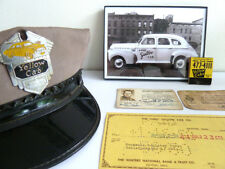 LOT Vintage 1940's Yellow Cab Taxi Hat Badge ID Pin Photo, Matches MODERNIST USA