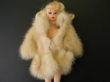 Honey Brown Genuine Mink Fur Coat for barbie doll