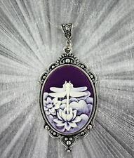 VINTAGE STYLE CAMEO PENDANT, NECKLACE -----  STERLING SILVER PLATED SETTING