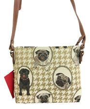 Tapestry Pug Dog Cross body Bag - Pouch Signare Approx 18cm x 27cm